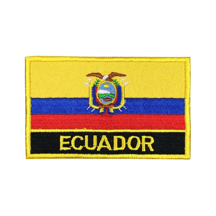 Ecuador Flag Patch Embroidered Patch Gold Border Iron On patch Sew on Patch Bag Patchmeet you on Fleckenworld.com