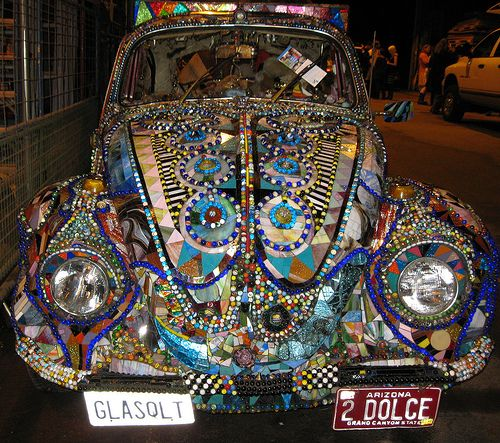 Glass Quilt mosaic art car by Ron Dolce. Dynamite! Way too Cool~I Love it, Stephi!