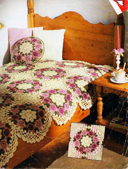 Crochet flower bedspread ♥LCB-MRS♥ with diagrams