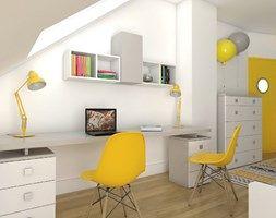 White, grey and yellow attic room for girls. Pokój dla dziewczynek w białym, szarym i żółtym kolorze. Meble firmy Colorato. www.colorato.pl