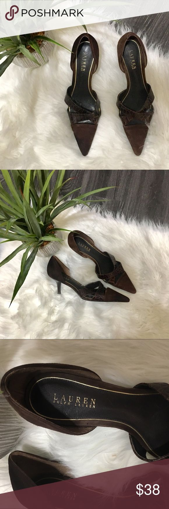 """Ralph Lauren suede snake skin """"Anita shoe"""""""" Ralph Lauren """"Anita"""" brown suede/snake skin 3"""" heel pointy shoe. New without box. Has white mark on inside dousing as pic from a label. Size 9. Bundle 1 or more items and I will give you free shipping Lauren Ralph Lauren Shoes Heels"""
