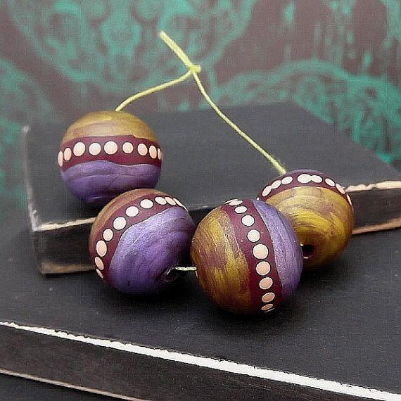 Moroccan Inspired Polymer Round Bead - Hand Painted - Metallic Lilac Gold Plum Mocha Polka Dot - Boho Gypsy - 11mm - Pkg. 4