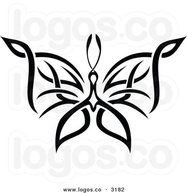 royalty free vector of a black and white tribal butterfly flying tattoo butterfly. Black Bedroom Furniture Sets. Home Design Ideas
