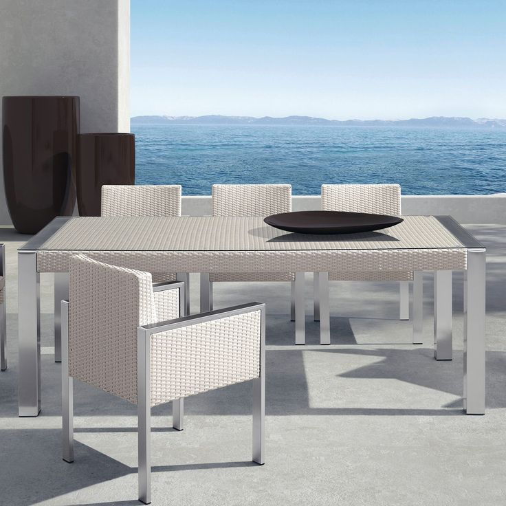 Armen Living Watercube Outdoor Rattan/ Glass Patio Dining Table