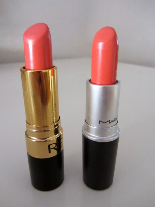 A list of drugstore make-ups that are duplicates of department store brands - MAC Vegas Volt vs. Revlon Coralberry