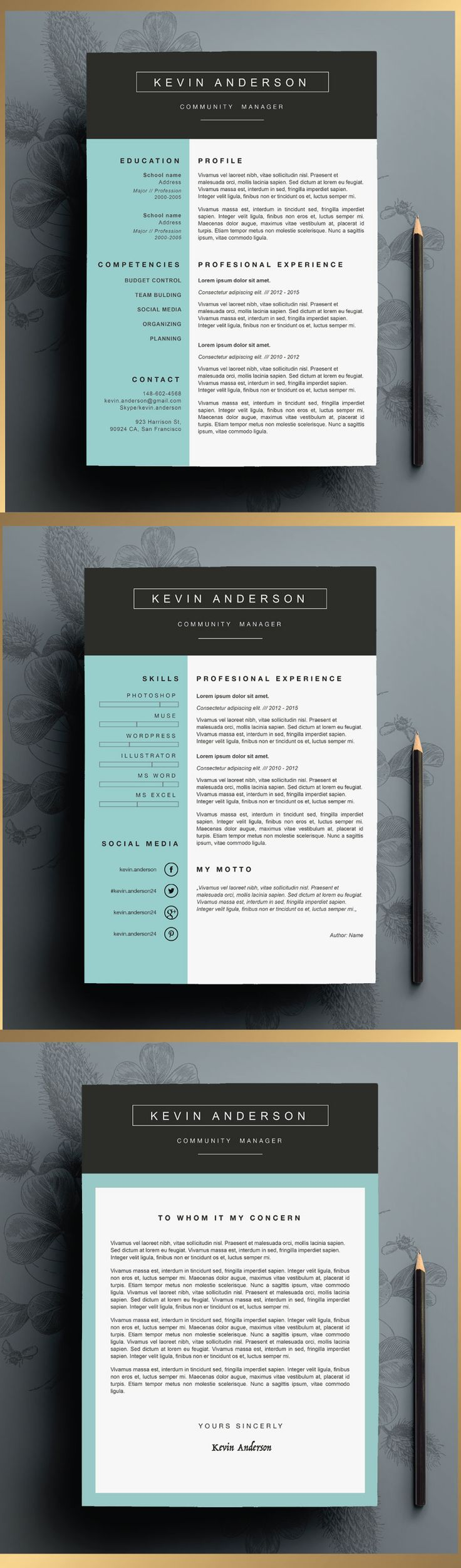 Stylish Resume Template editable in Ms Word by CVdesign. You can find us on Etsy! ♥