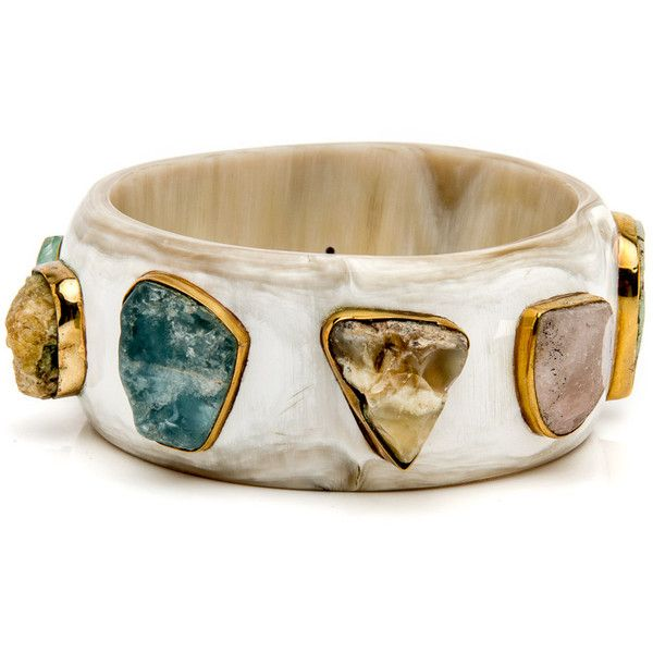 Furahi Light Horn Bangle found on Polyvore featuring jewelry, bracelets, bangle bracelet, hinged bracelet, hinged bangle, horn bangle and bracelets bangle