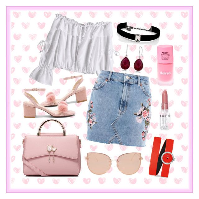 """""""pastel pink"""" by sasya15 on Polyvore featuring Topshop, Raye, WithChic, Kenneth Jay Lane, Christian Dior, Rodin, love, Pink, skirt and jeans"""