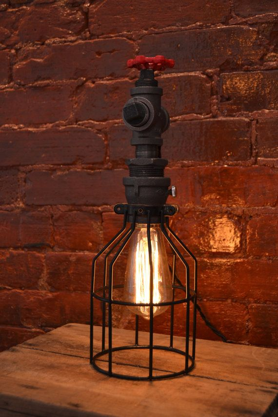 Table or Night stand Industrial Lamp [ Edison Bulb Included ]