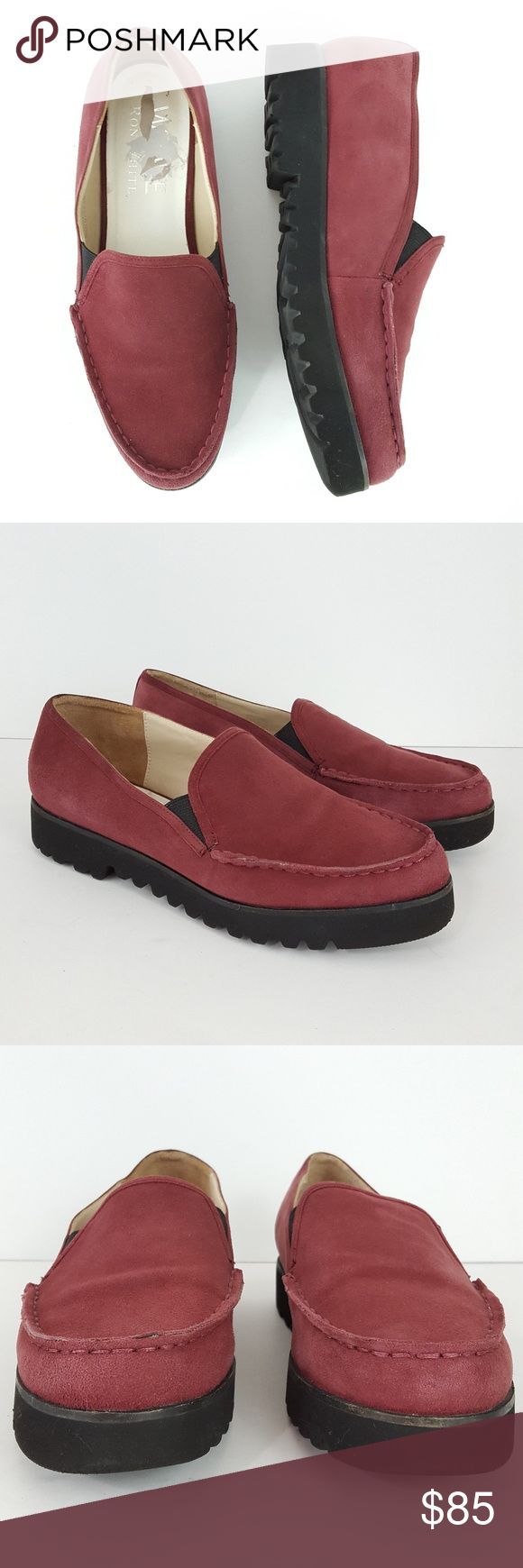 "{Ron White} Simone Burgundy Suede Loafers Creepers Ron White Loafers Size 8 ""Simone"" Burgundy Suede Slip-On Creepers Dark Red Shoes  Excellent pre-owned condition; has minimal wear. Please see pics.  Minor damage to right footbed from removing price sticker  Outsole at widest = 3.5"" Heel height = 1.25"" Platform height = 3/4""  W-SHOE-4207 Ron White Shoes Flats & Loafers"