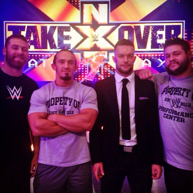 Sami Zayn, Neville, Finn Bálor and Kevin Ownes, just hanging out at work looking adorable.