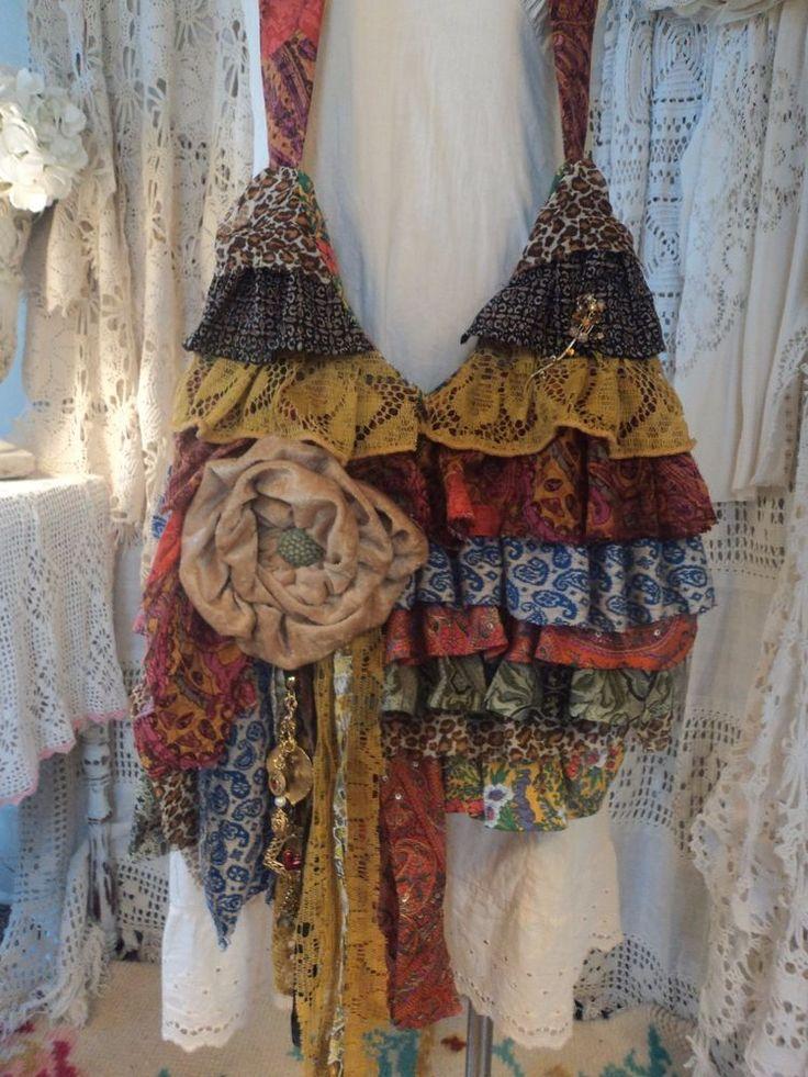 Handmade Cross Body Bag Vintage Fabric Ruffles Brooch Boho Hobo Purse tmyers #Handmade #MessengerCrossBody