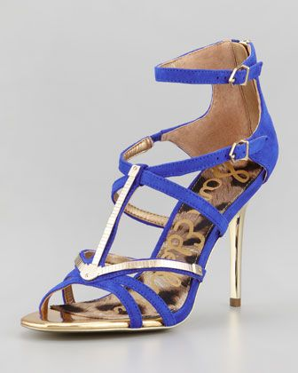 $130 for these? A steal! Alena Strappy Suede & Metallic Sandal, Indigo by Sam Edelman at Neiman Marcus.