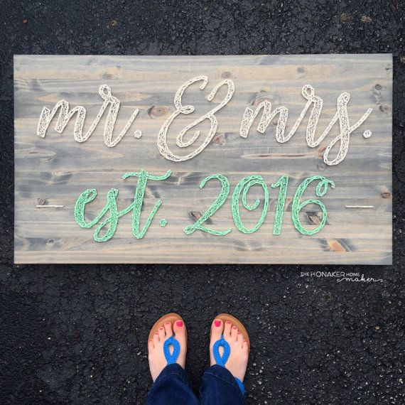 MADE TO ORDER Script Mr. & Mrs. with Established Year String Art Board