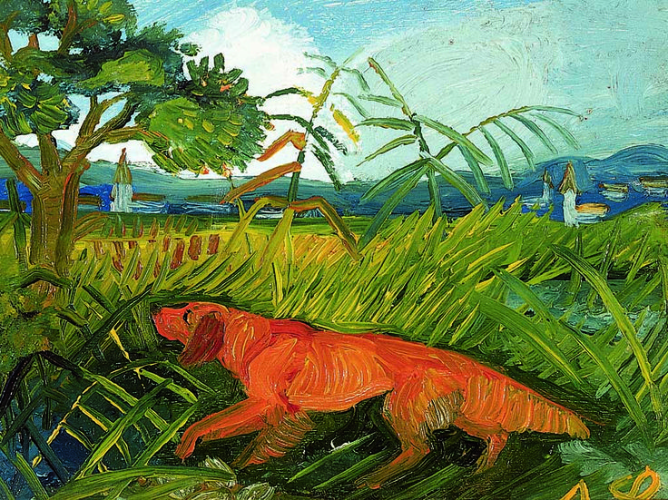 Antonio Ligabue, Setter irlandese con paesaggio, 1948-49 - CoSA | Contemporary Sacred Art