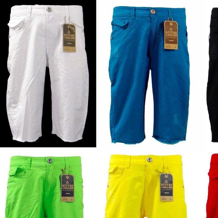 New Men's Access Fashion Denim Jean Frayed Bottom Slim Fit Shorts AS1533 #Access #FrayedBottomDenimShorts