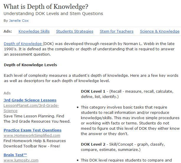 17 best images about depth of knowledge on pinterest With dok lesson plan template