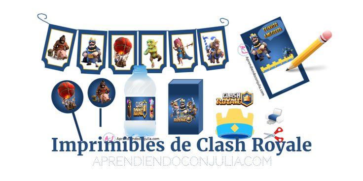 Imprimibles para fiestas y cumpleaños de Clash Royale. Invitación, banderines, corona, etiquetas...