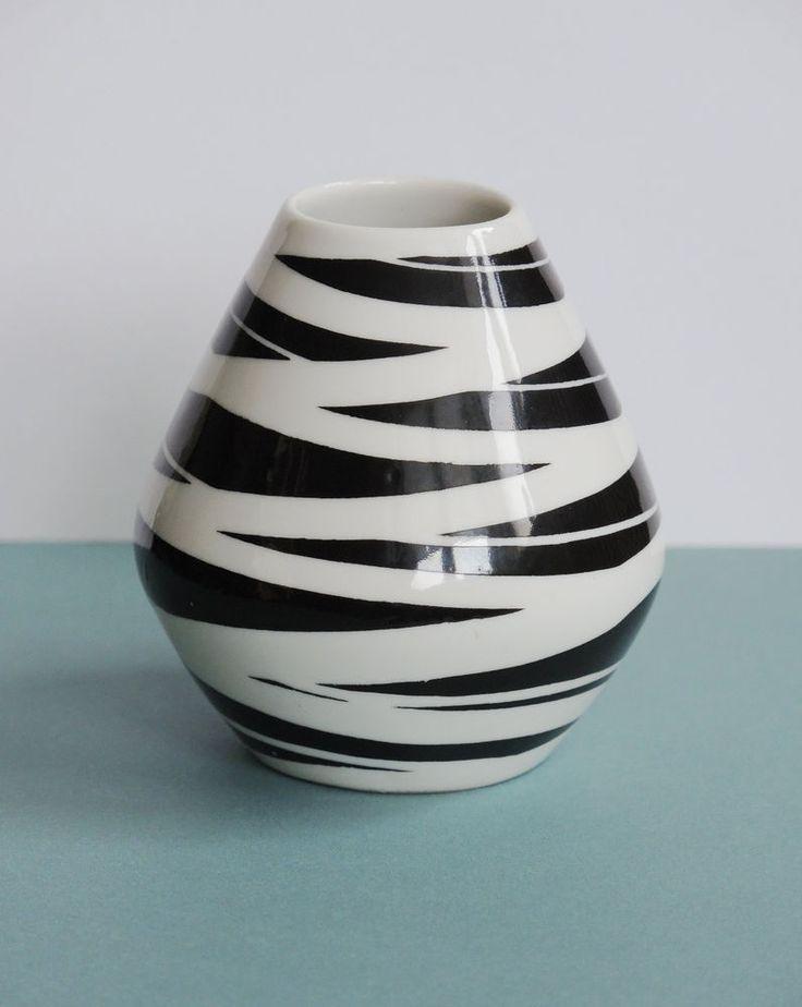 50er jahre porzellan vase 7,5 cm schwarz weiß zebra dekor 50s rockabilly