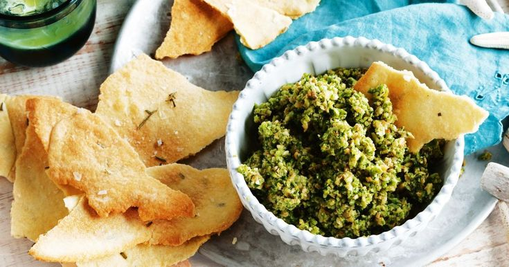 Green olive dip with rosemary crispbread