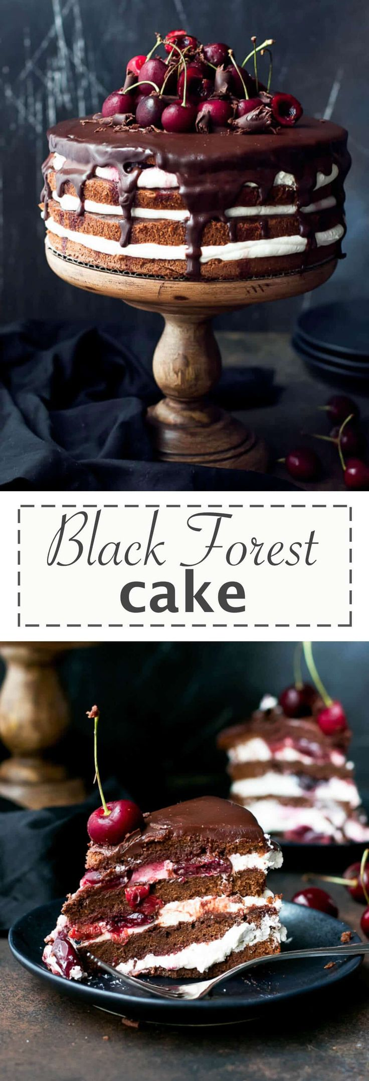 Easy Black Forest Cake Recipe - layers of chocolate cake, brushed with cherry liqueur, whipped cream and cherry filling. Gorgeous cake, with amazing flavors, light, chocolatey, boozy and fruity. Perfect for a celebration.