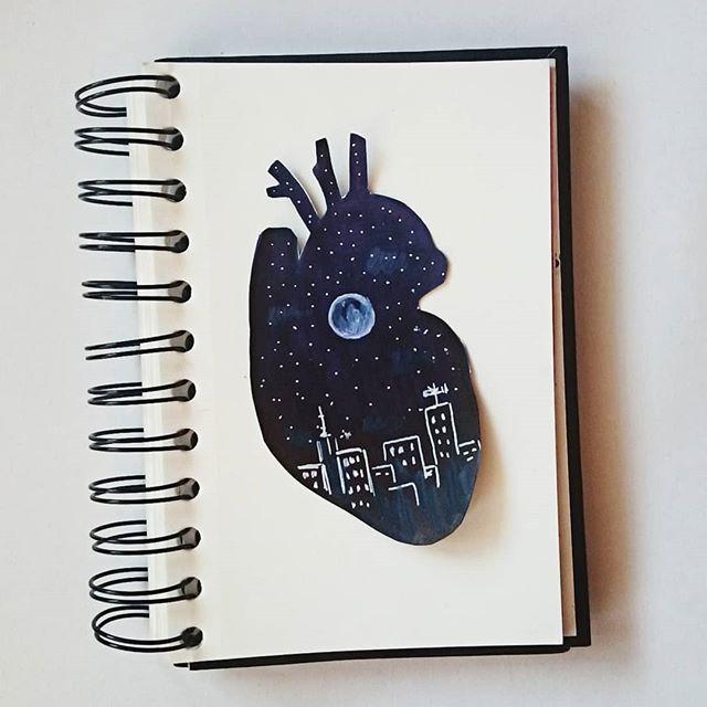 Hello darkness, my comfort zone   #drawing #doodle #sharpie #posca #night #hellodarknessmyoldfriend #fullmoon #City #skyline #illustration #humanheart #heart #cardio #cardiac #anatomy #sketch #sketchbook #illustrationnow #starrynight #comfortzone #mood #aorta #atencyjniartyścizinsta #art #artgram #artistsoninstagram #drawyourheartout