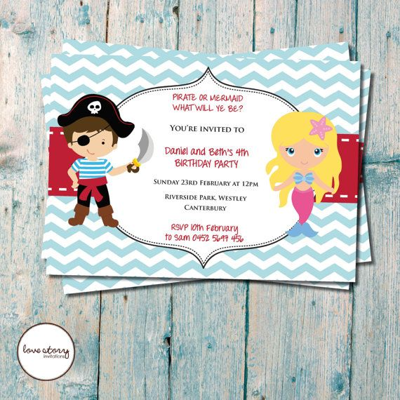 56 best rohaannaleahs bday party ideas images on pinterest pirate mermaid party birthday invitation twin birthday invitation diy printable printing available filmwisefo
