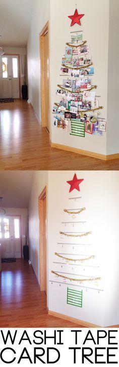 Árbol de cinta de Washi!  Una manera festiva a organizar todas sus tarjetas para las fiestas ...