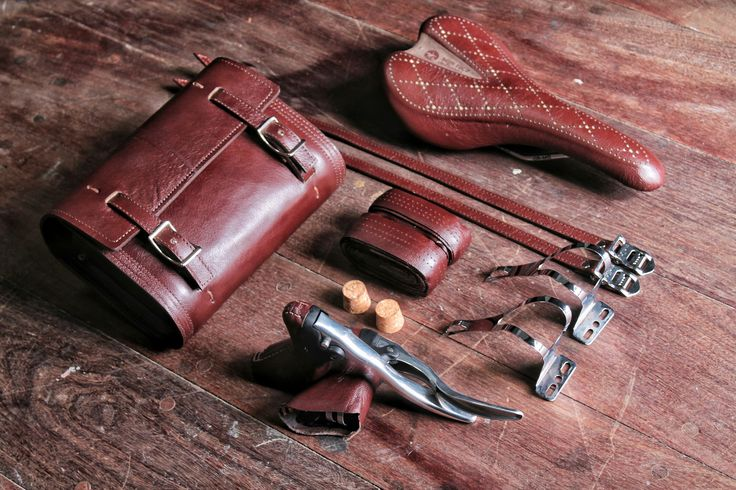 Leather bicycle components setup #bicycle #handcrafted #handmade #leather