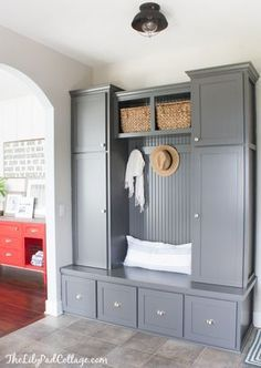 This built-in storage for a mudroom is gorgeous | 100+ Beautiful Mudrooms and Entryways at Remodelaholic.com