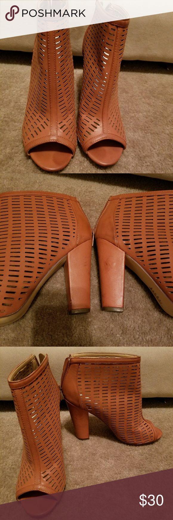 Brown open toe shooties. Brown ankle open toe shooties with zipper in the back Shoes Heels