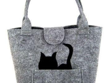 Gatto della borsa del feltro borsa per donna borsa grigio feltro borsa Designer borsa feltro borsa a tracolla moderna