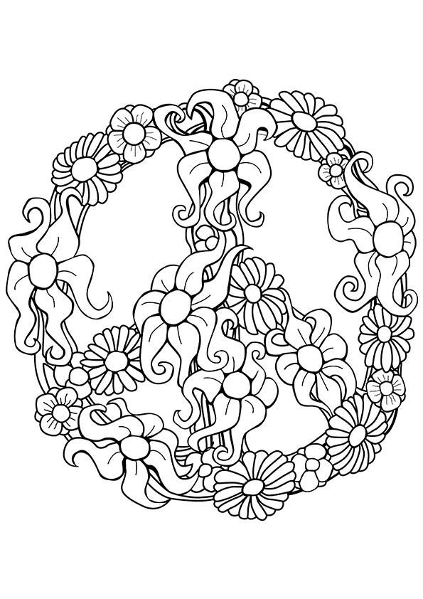 3512 best images about coloring pages on pinterest for Peace sign mandala coloring pages