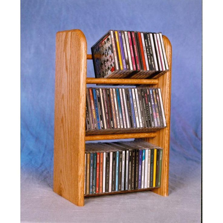 The Wood Shed Solid Oak 3 Row Dowel 78 CD Media Rack Clear Oak - 304C