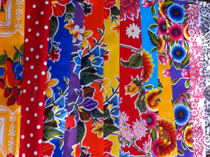 Spring is here, time to wipe the outdoor table down and venture outside again. Mexican oilcloth. http://lasninastextiles.com/product-category/oilcloth-3/