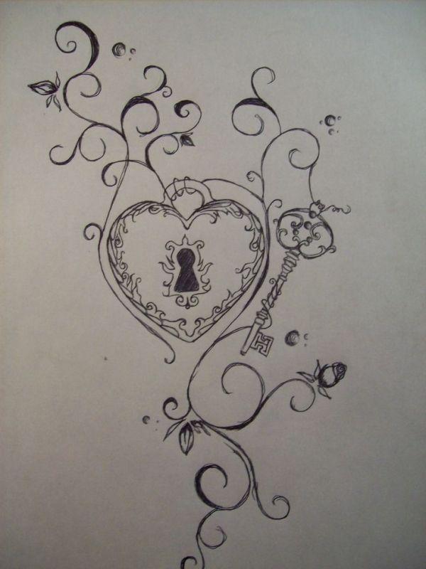 Key Lock Heart Rose Tattoo by Rove Cove