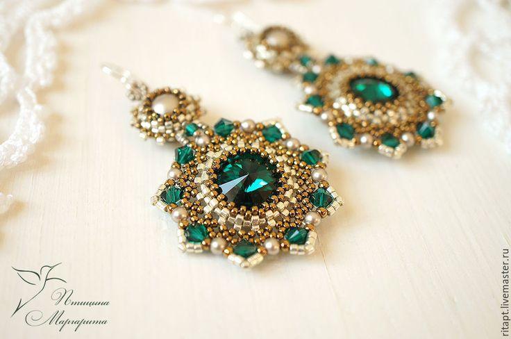 """Купить Серьги с жемчугом Swarovski """"Emerald"""" серьги из бисера, длинные серьги - зеленый, изумрудный, серьги"""