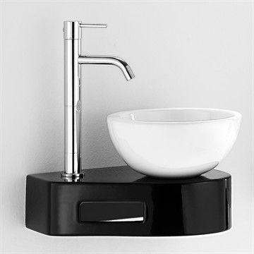 Compact Black and white V hvid håndvask og sort vægkonsol i porcelæn