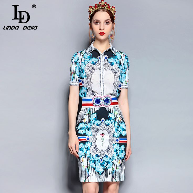 Summer Runway Suit Set Women's Short Sleeve Printed Tops Crystal Beading Vintage Skirts Two Piece Set 2