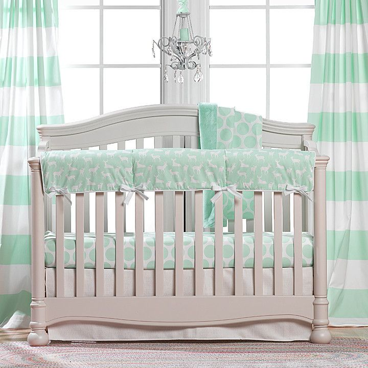 Mint Baby Bedding Cabana Stripe, Gray And Mint Green Baby Bedding