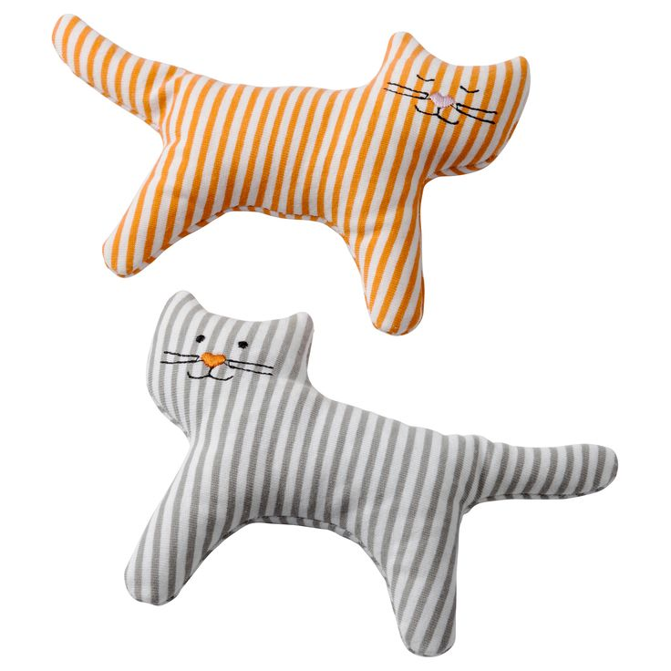LEKA Rattle - IKEA. This two pack matches Crookshanks and Minerva with the nose colors and predominant stripes in their coats. Must pick up tons of these next time I go to IKEA!!