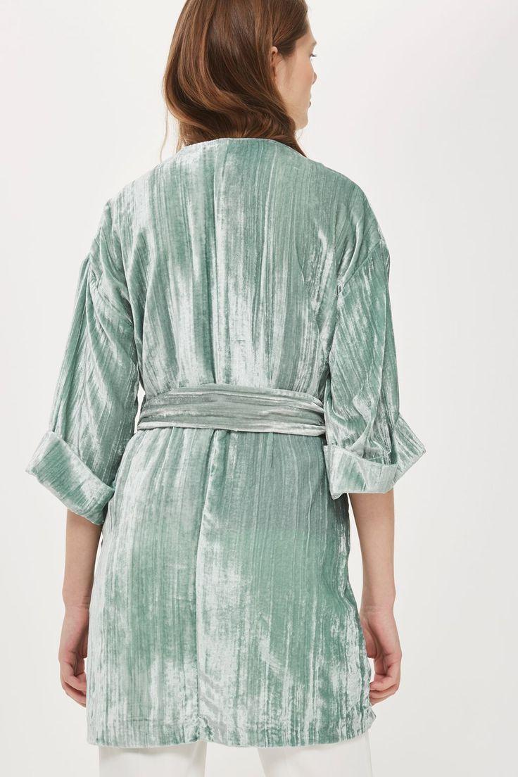 Topshop 2017 Crushed Velvet Kimono Wrap Belted Jacket Mint Green UK 6 8 10 12 14 | eBay