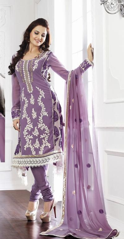 $73.98 Purple Thread Work Faux Georgette Churidar Salwar Kameez 25646