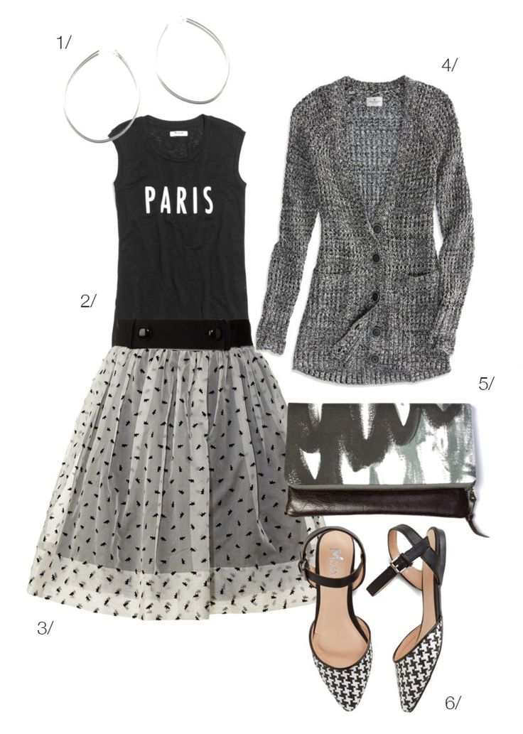 street style inspired: paris in black and grey - organza skirt and muscle tee - via megan auman