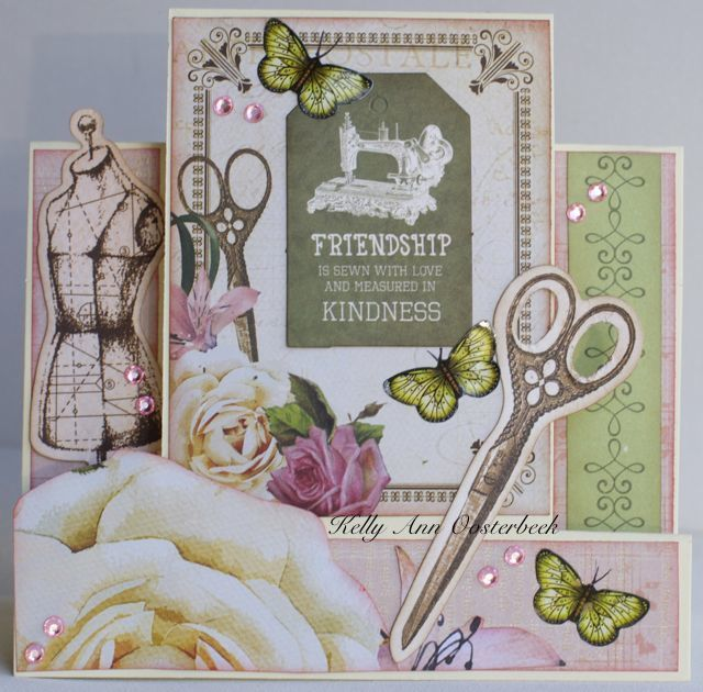 A step card by Kelly-ann Oosterbeek made using the Mademoiselle  Collection from…