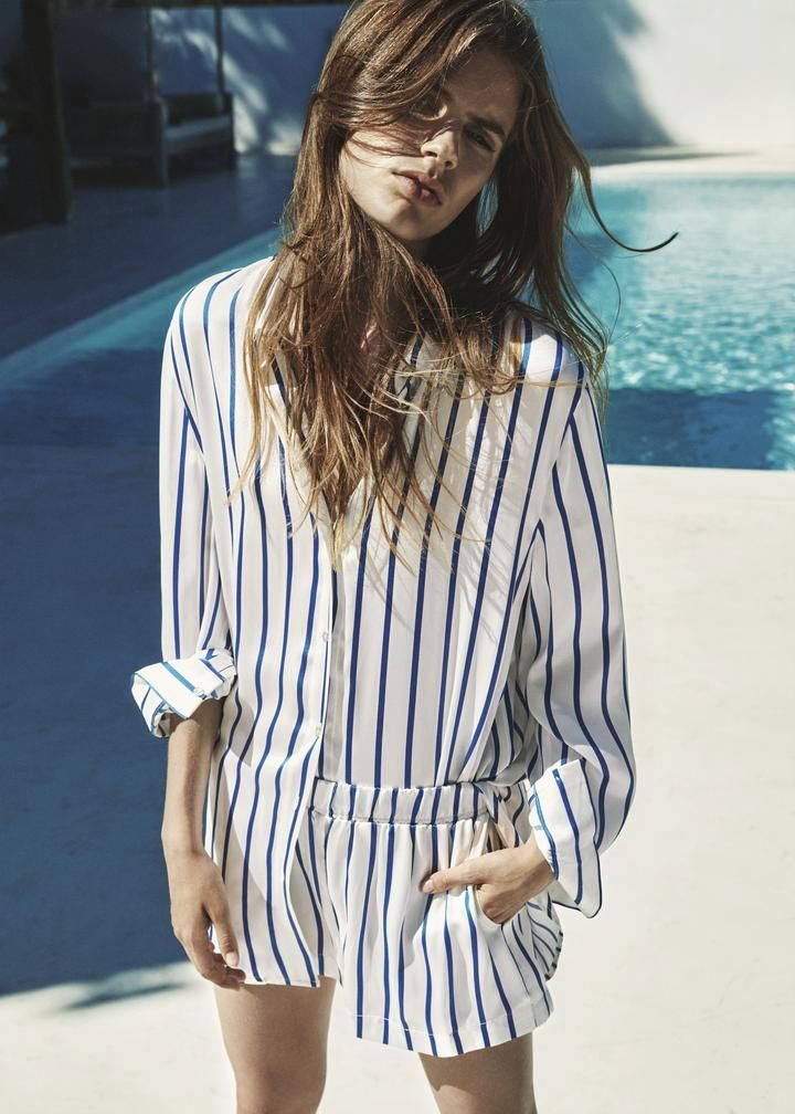 DUTCH BLUE STRIPE PRINTED SILK PYJAMA SHORTS <br />(Pre-order now for delivery before Christmas) - Asceno