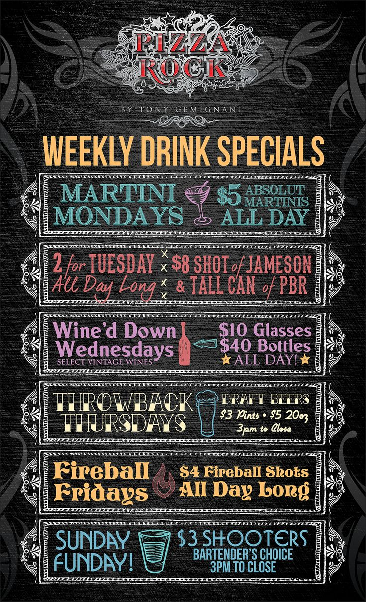 This is a poster that was designed for Pizza Rock. It is Their weekly drink specials. The designers idea of this poster was a colorful chalk board design. Like you see in some restaurants. You know how they have their daily specials on a chalk board. Isn't that cool. LunaGraphica | www.lunagraphica.com