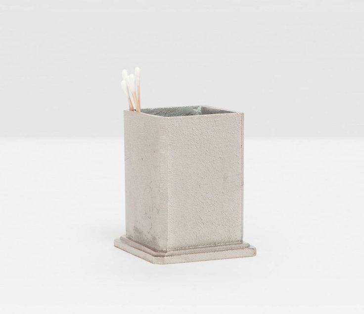 Pigeon & Poodle Porto Brush Holder in Silver Rustic Aluminum from The Well Appointed House