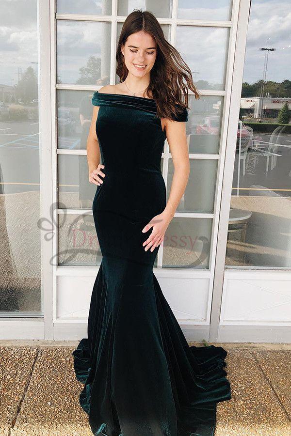 6cbd6eaa517 Mermaid Off the Shoulder Dark Green Velvet Long Prom Dress in 2019 ...