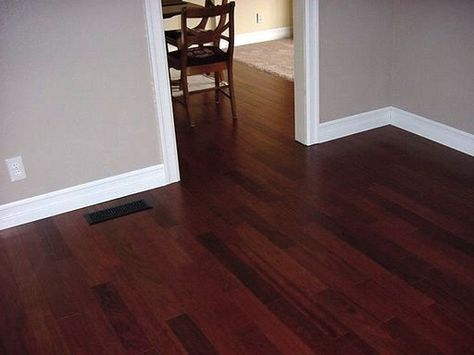 New Trim Work with  Brazilian Cherry Floor love the wall color: